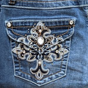 Earl Embellished & Embroidered Slim Bootcut Jeans